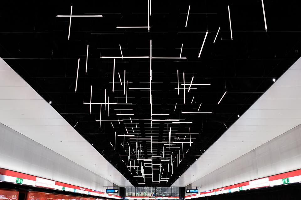Keilaniemi metro station ceiling
