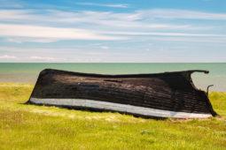 Derelict wooden boat