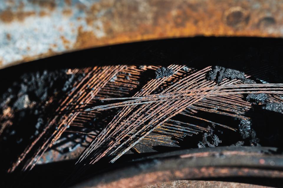 Burnt tires.