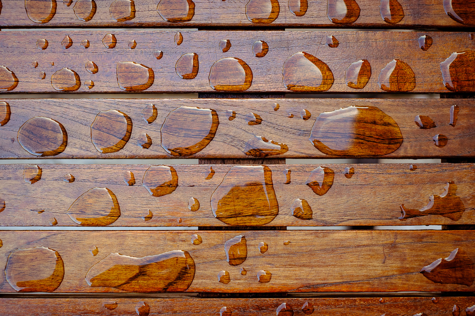 Droplets on a wooden table