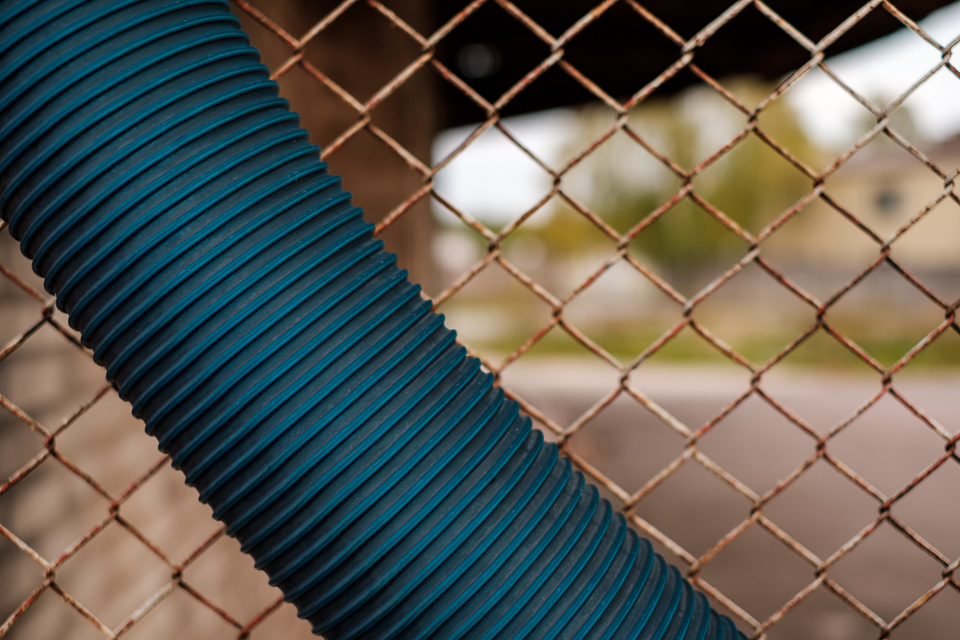 Blue rainwater hose