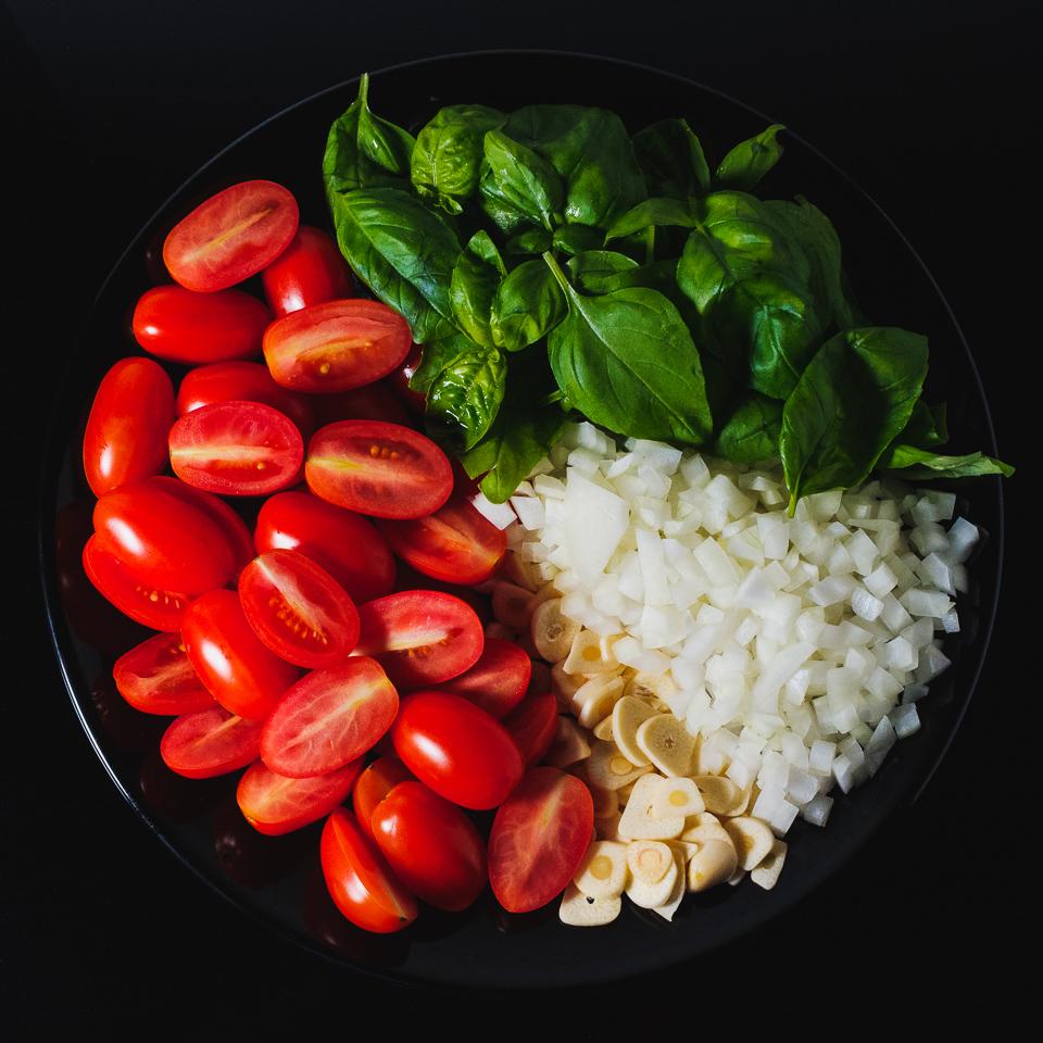 Chopped pasta ingredients