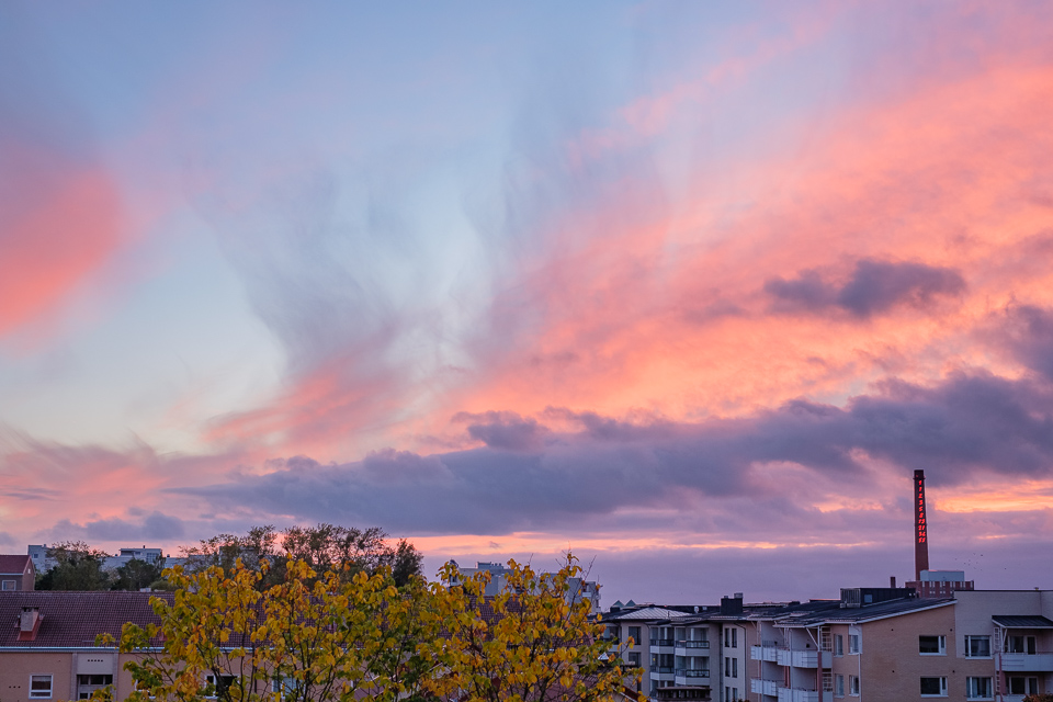 A colorful sunset over Turku