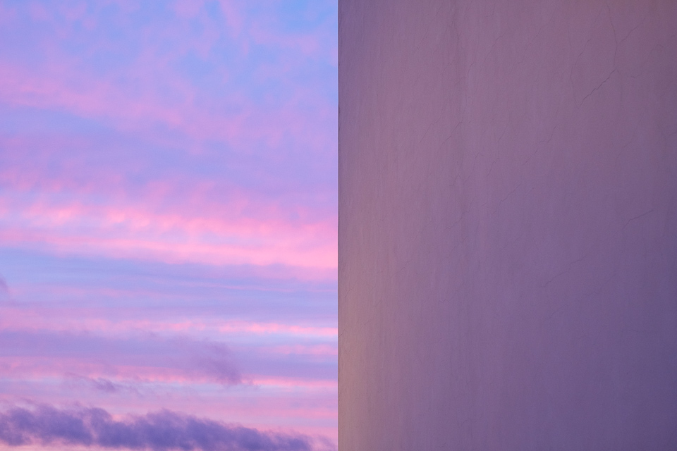 Sunset and church wall abstract