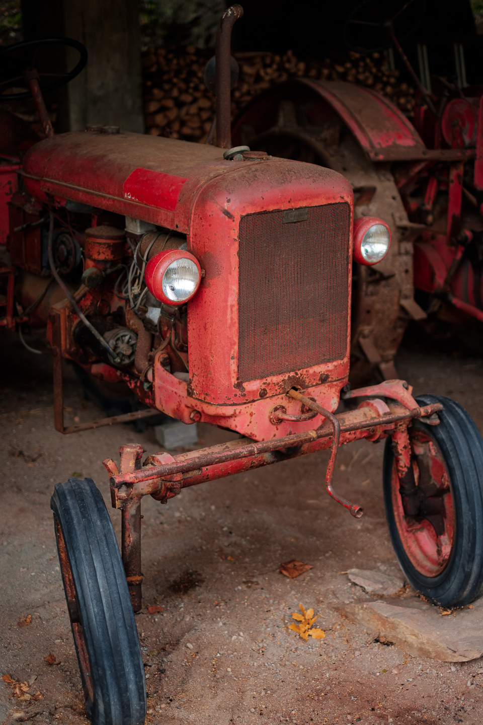 Old tractor from front