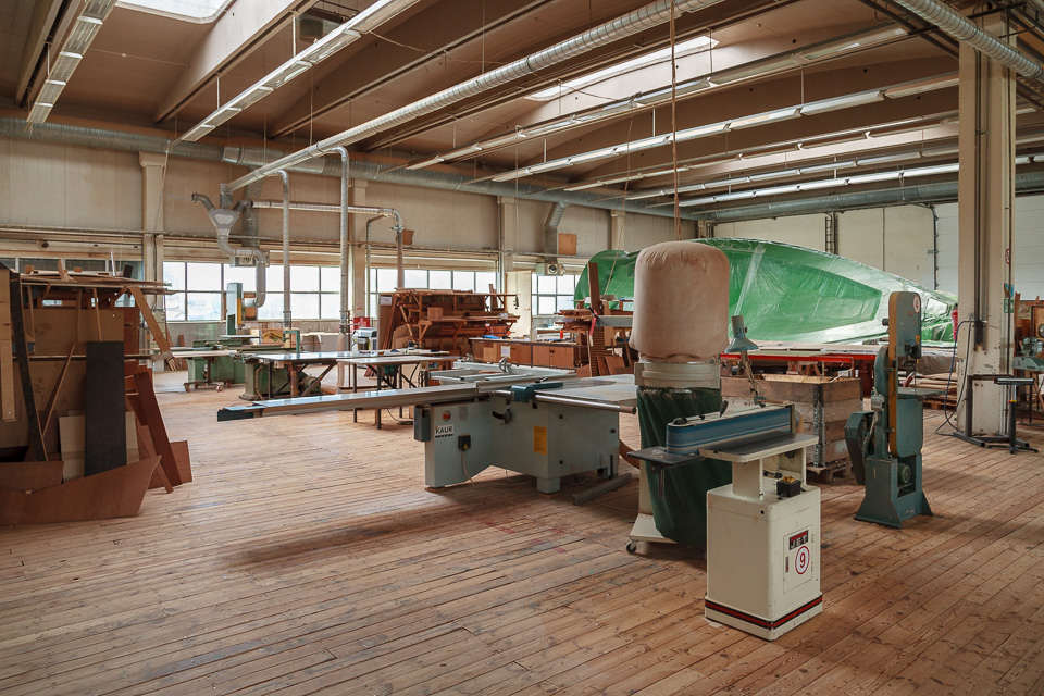 Inside Saare Yachts woodworking area.