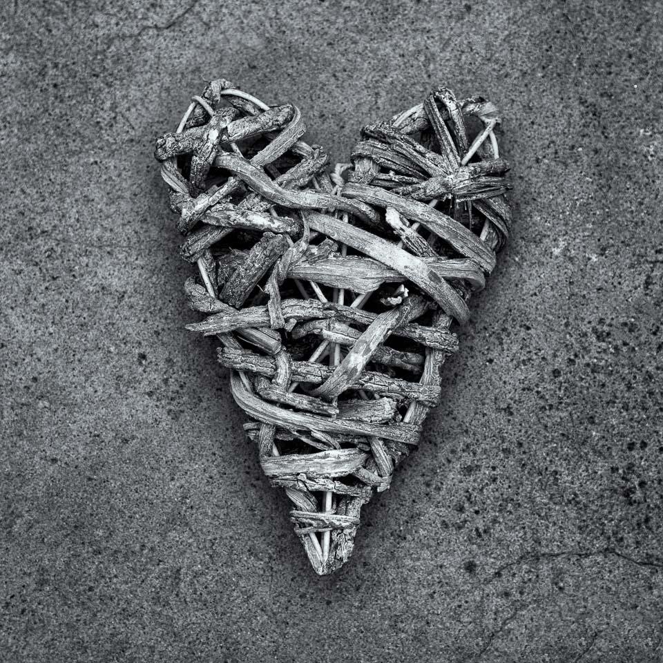 A decorative wicker heart